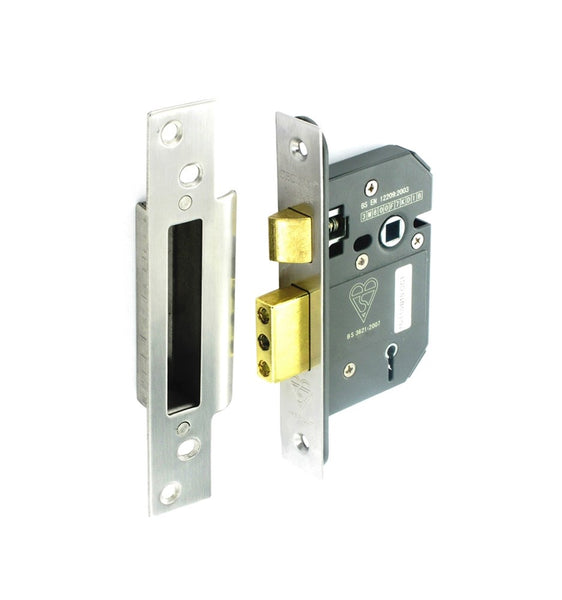 Securit 5 Lever Mortice Sash Lock - Nickel Plated