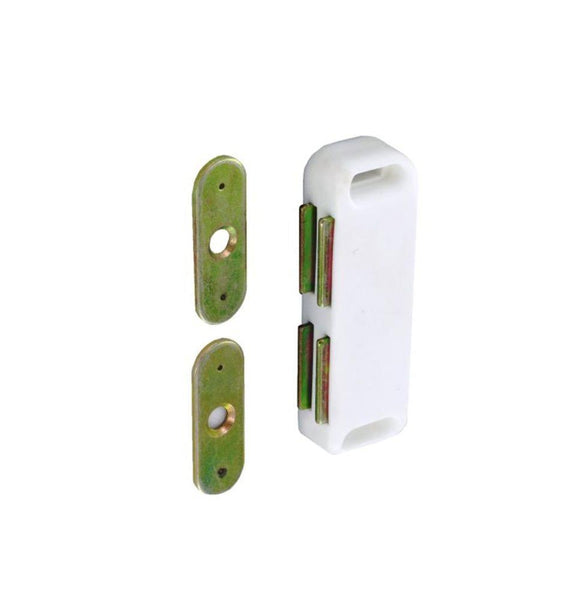 Twin Magnetic Catch - 65mm - White - Pack of 2