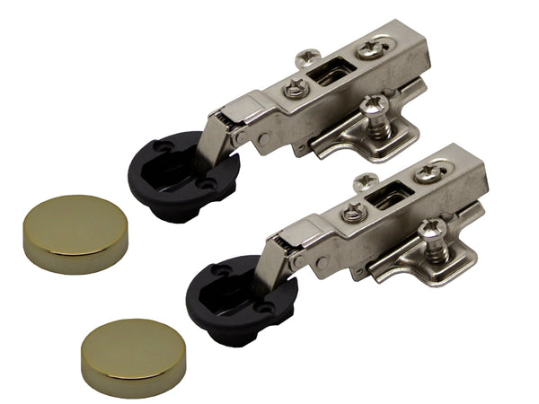 Clip On Half Overlay Glass Hinge - Gold Cover - 18mm Side - Eurofit Direct