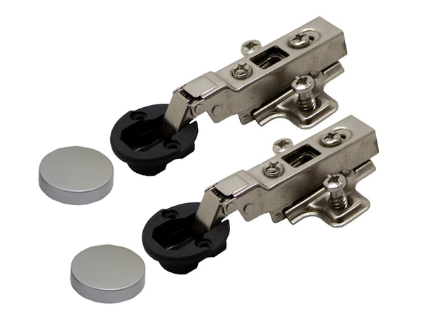 Tutti Cabinet Hinge Glass Door Half Overlay Silver Cover 95° Pair - Eurofit Direct