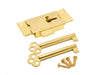 Cupboard Door Lock - 63mm Width - Brass with 2 Keys