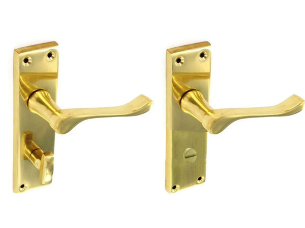 Victorian Scroll Bathroom Handles - Brass