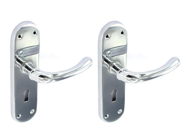 Securit Lever Lock Door Handle With Backplate - Chrome Plated