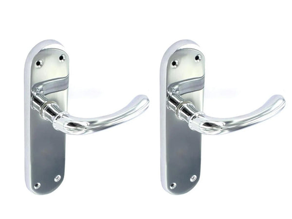 Securit Lever Latch Door Handle With Backplate - Chrome Plated