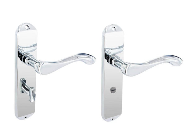Securit Scroll Lever Lock Bathroom Door Handle With Backplate - Chrome Plated