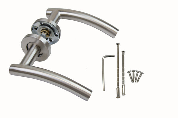Securit Arc Style Door Latch Handle With Rose - Satin Stainless Steel