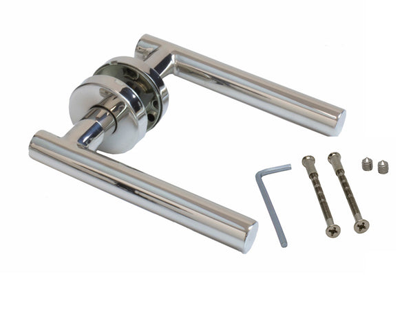 Securit Bar Style Door Latch Handle With Rose - Polished Stainless Steel