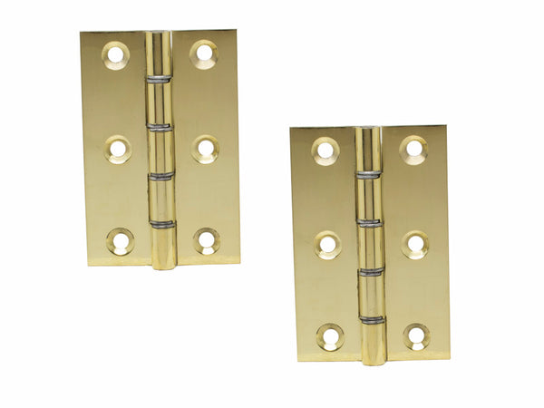 Washered Brass Butt Hinge H75 x W50 x T1.5mm Polished