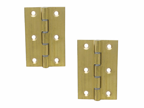 Washered Brass Butt Hinge H75 x W50 x T1.5mm Self Colour - Eurofit Direct