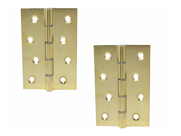Washered Brass Butt Hinge H100 x W65 x T1.5mm Polished Plated - Eurofit Direct