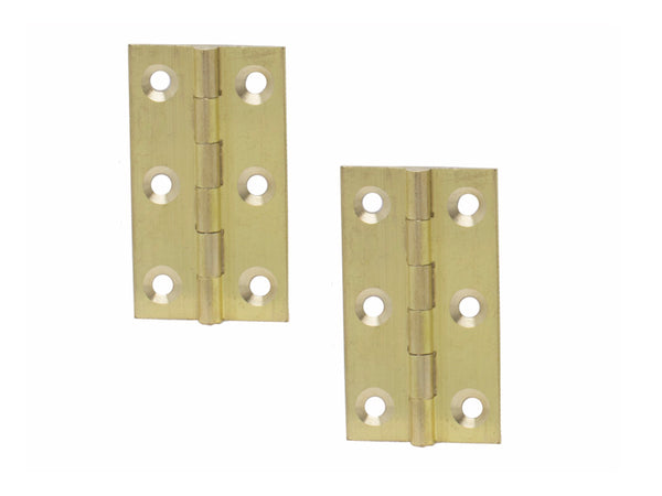 Butt Hinge H50 x H28 x T1mm Self Colour Brass