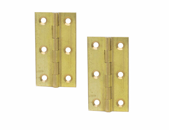 Brass Butt Hinge H63 x W34 x T1mm Self Colour - Eurofit Direct