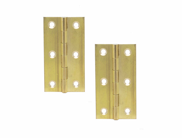 Brass Butt Hinge H75 x W40 x T1mm Self Colour - Eurofit Direct