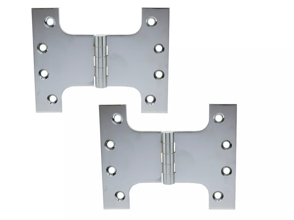 Parliament Brass Hinge H100 x W125 x 4mm Satin Chrome - Eurofit Direct