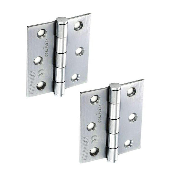 Butt Hinge H75 x W65 x T2mm Satin Chrome Steel CE Graded