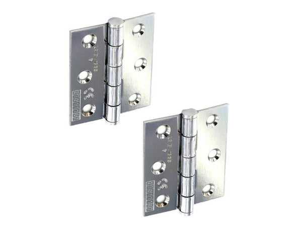 Butt Hinge H75 x W65 x T2mm Polished Chrome Steel CE Graded - Eurofit Direct