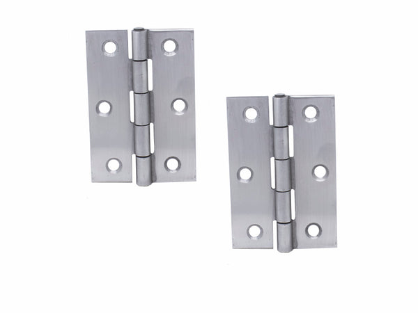 Butt Hinge H75 x W50 x T1.5mm  Satin Stainless Steel - Eurofit Direct