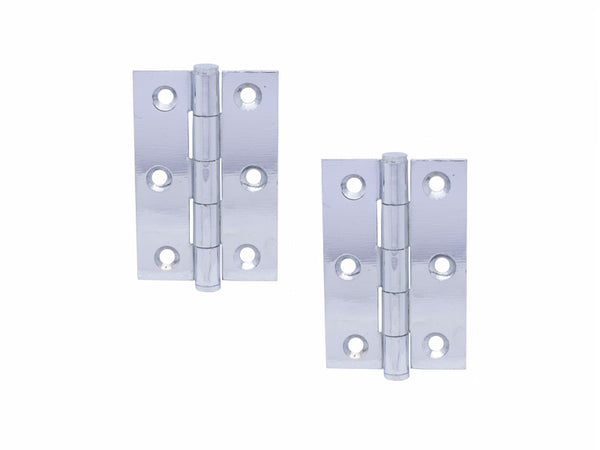 Button Tip Steel Butt Hinge H75 x W50 x T2mm Polished Chrome