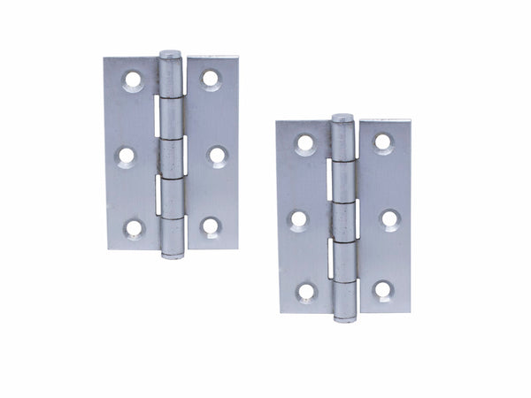 Button Tip Steel Butt Hinge H75 x W50 x T2mm Satin Chrome
