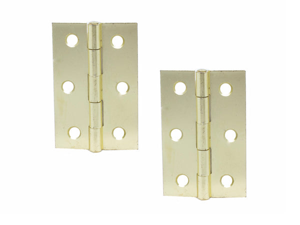 Steel Butt Hinge H75 x W50 x T1.5mm Brass Plated - Eurofit Direct