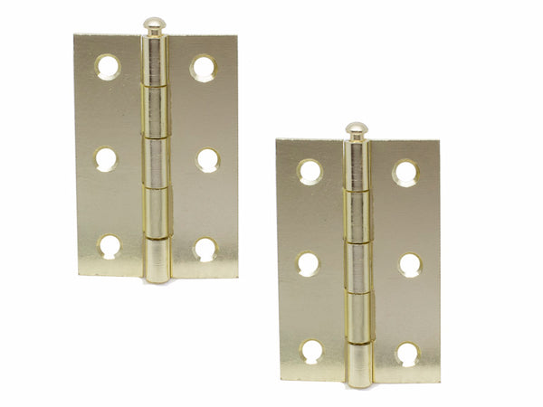 Loose Pin Steel Butt Hinge H75 x W50 x T1.5mm Brass Plated