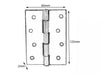 5050 Narrow Steel Butt Hinge H125 x W65 x T2 Self Colour