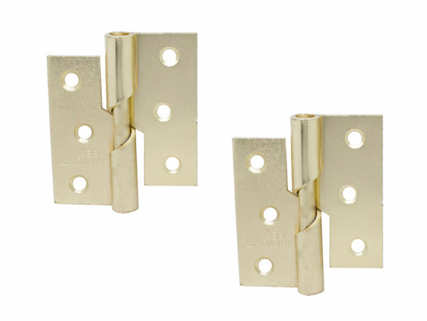 Rising Butt Hinge H75 x W75 x T2mm Left Handed Brass Plated Steel