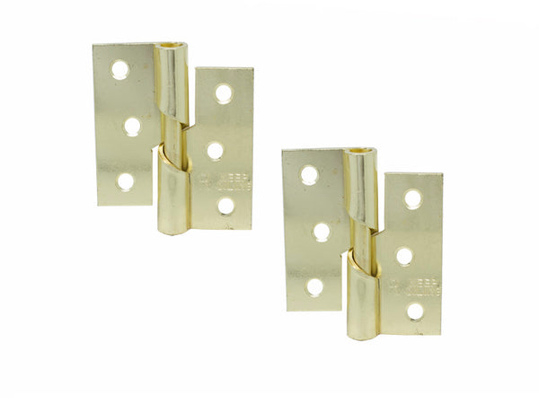 Rising Butt Hinge H75 x W75 x T2mm Right Handed Brass Plated Steel