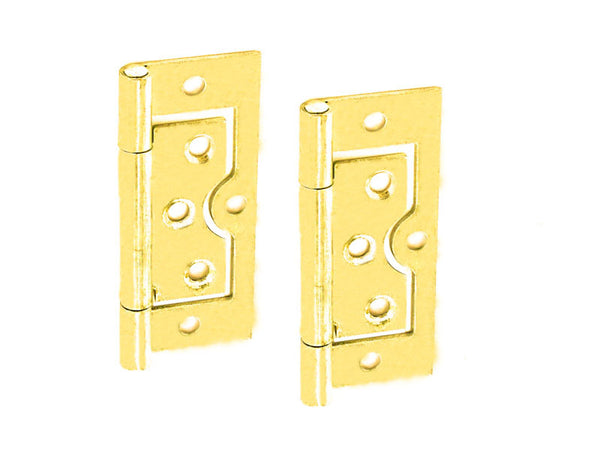 Flush Hinge H75 x W33 x T1mm Brass Plated Steel
