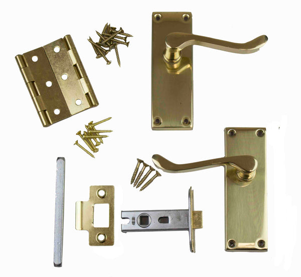 Securit Boxed Door Pack - Scroll - Polished Brass Plated