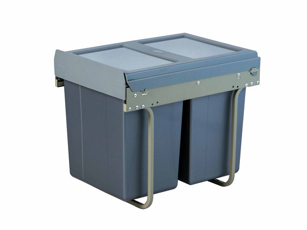 Kitchen Pull Out Waste Bin - Base Mounted - 400mm - Grey