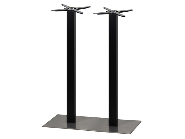 Mega Brushed S/Steel Base & Black Column 750 x 400 x H1100mm - Eurofit Direct