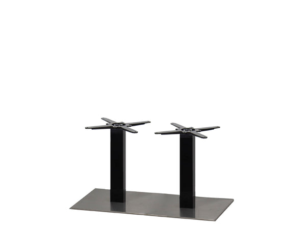 Mega Brushed S/Steel Base & Black Column 750 x 400 x H450mm - Eurofit Direct