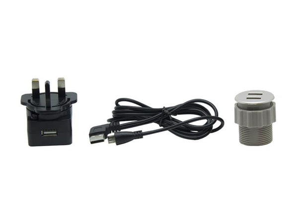 In-desk USB Charger - Silver - 35mm - Eurofit Direct