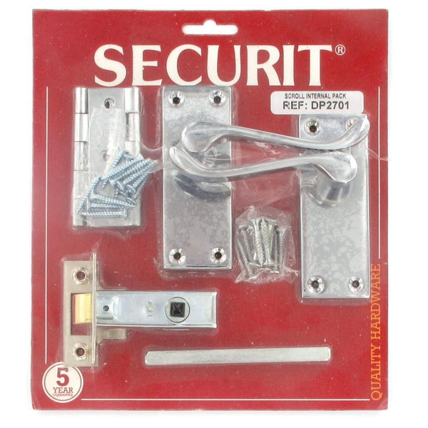 Securit Door Furniture Pack - Scroll Lever Latch - Mortise Latch - Hinges - Chrome Plated