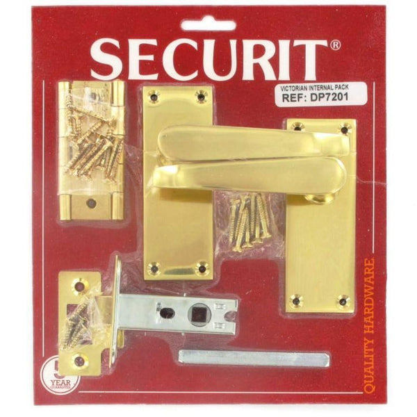 Securit Boxed Door Pack - Victorian - Polished Brass Plated
