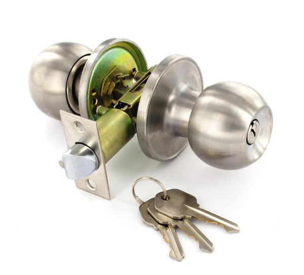 Securit Entrance Door Knob Set - Lock - Stainless Steel