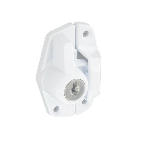 Securit Sash Window Fastener with Lock - White