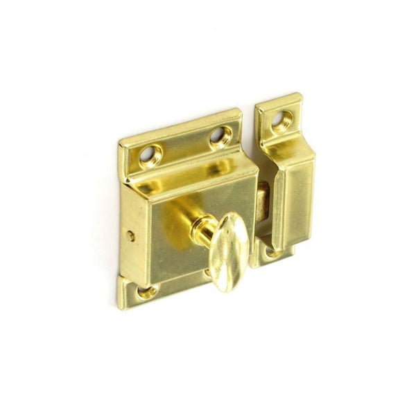 Cupboard Thumbturn Catch - 56mm - Brass Plated