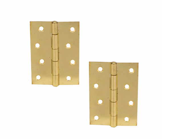 Butt Hinge H100 x W70 x T1.5mm Brass Plated Steel