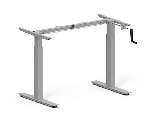 Height Adjustable Desk Frame 685-1165mm Silver Crank - Eurofit Direct
