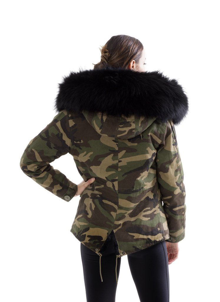 Camouflage Shell, Black Faux Fur
