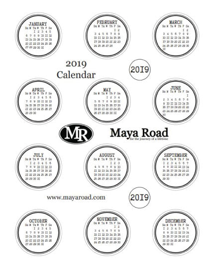 2019 Maya Road Calendar - DIGITAL DOWNLOAD