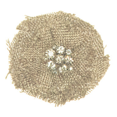 Jewel Center Burlap Blossom - Natural