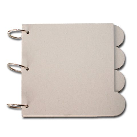 3-Ring Square Round Tab Chipboard Book