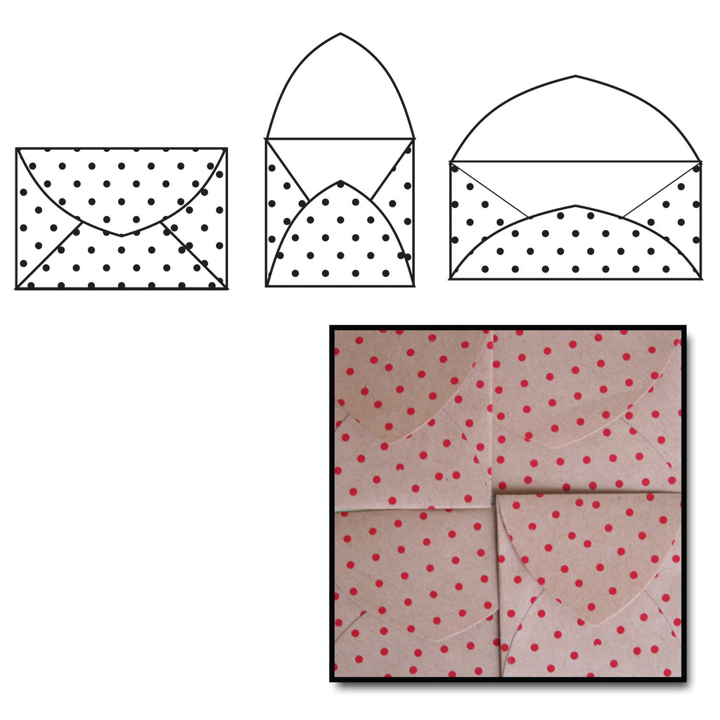 Kraft Note Envelopes - Red Polka Dot