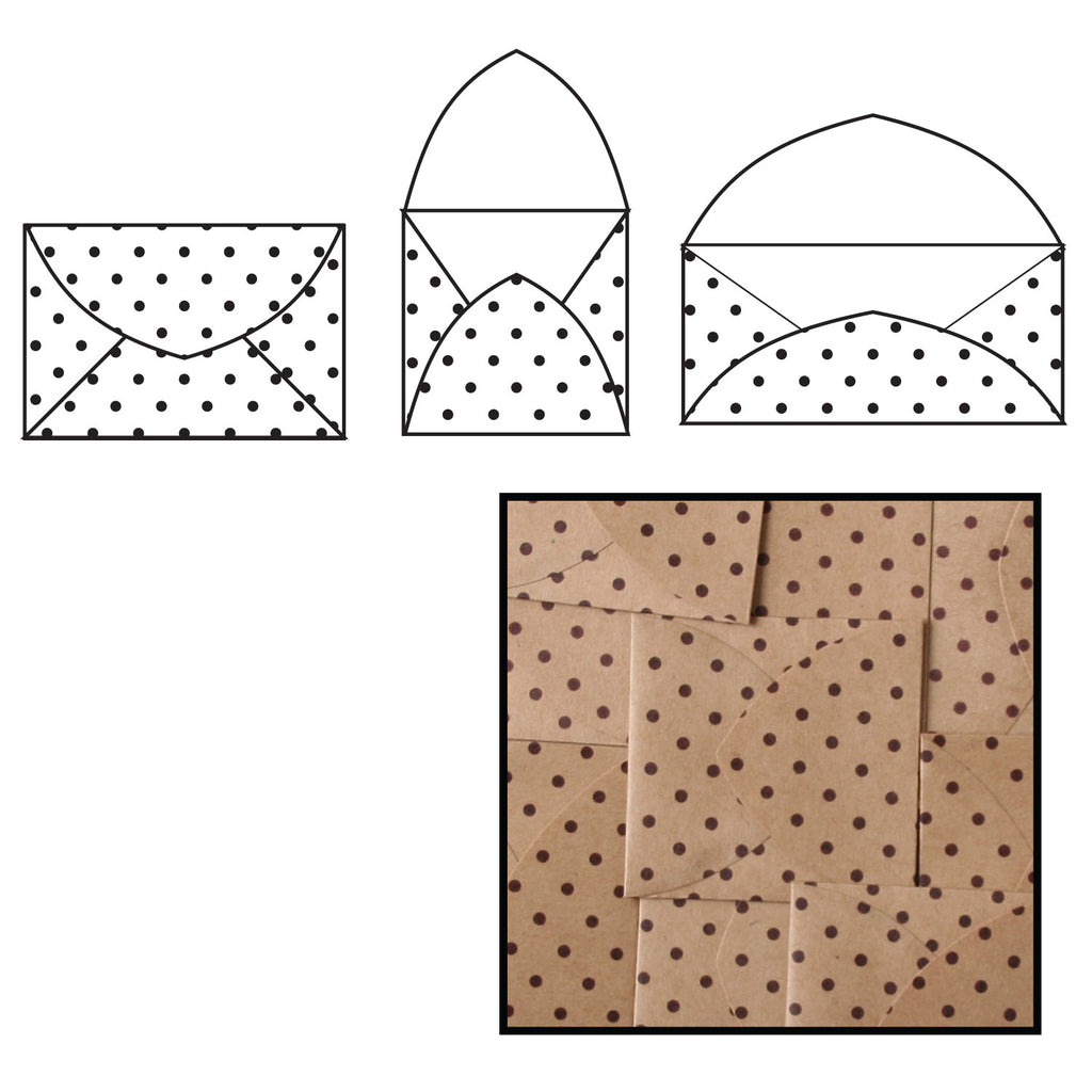 Kraft Note Envelopes - Brown Polka Dot