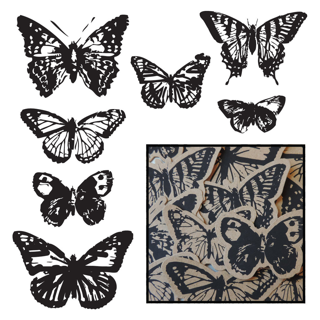 Kraft Vintage Butterfly Pieces - Black - Bulk