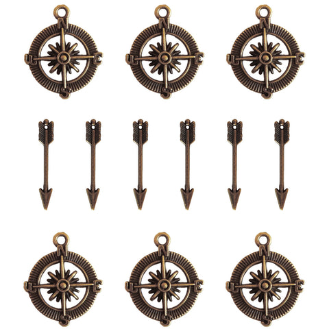 Ken Oliver Vintage Compass & Mini Arrow Charms