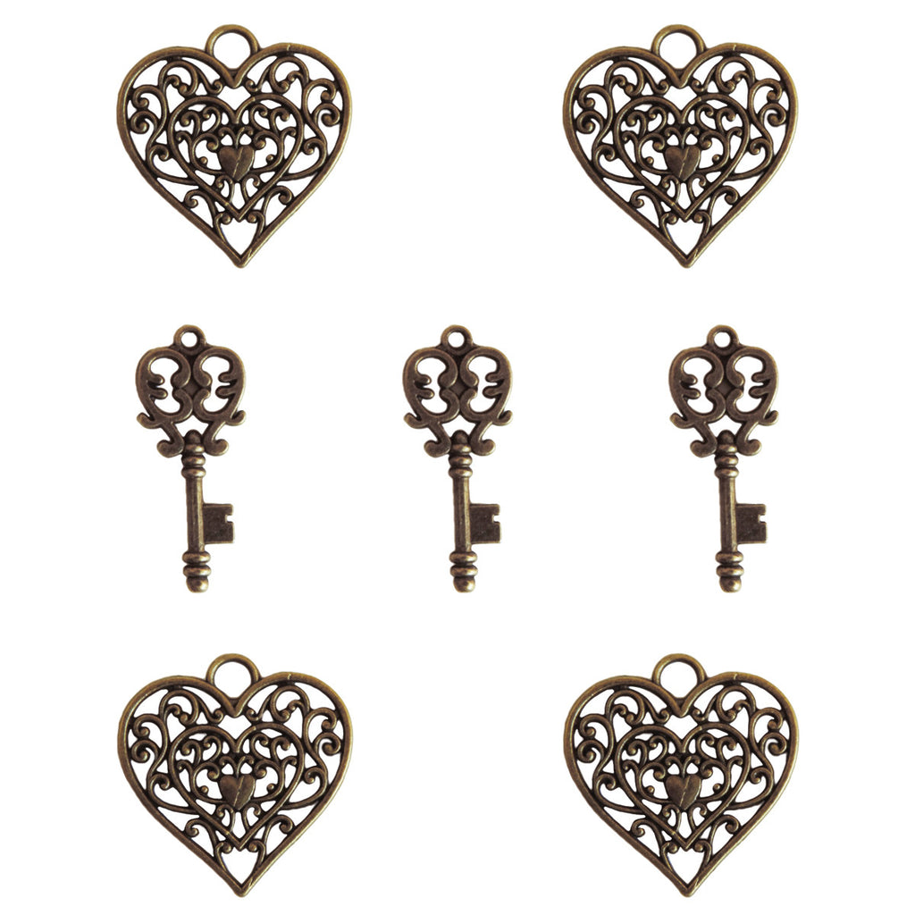 Ken Oliver Heart & Key Charms